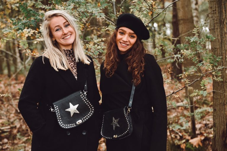 black leather bags with stars