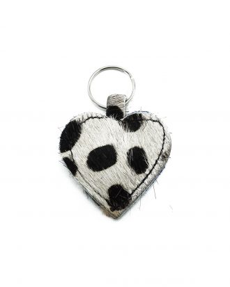 Black & White cheetah keychain big dots