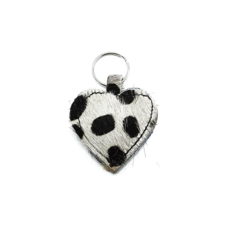 Black & White cheetah keychain big dots